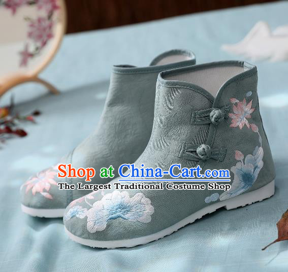 Asian Chinese Traditional Embroidered Lotus Leaf Green Boots Hanfu Shoes National Cloth Shoes for Women