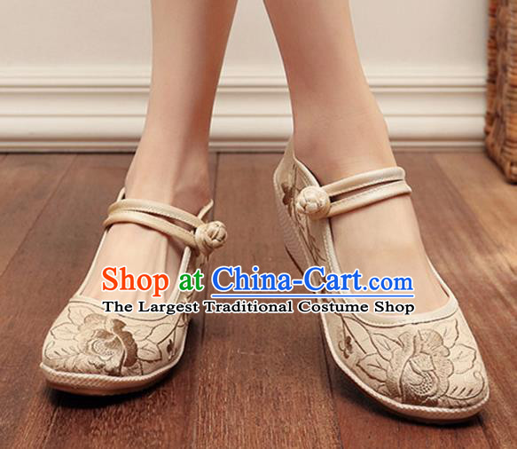 Asian Chinese Traditional Embroidered Peony Beige Shoes Hanfu Shoes National Cloth Shoes for Women
