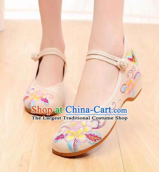 Asian Chinese Traditional Beige Embroidered Shoes Hanfu Shoes National Cloth Shoes for Women