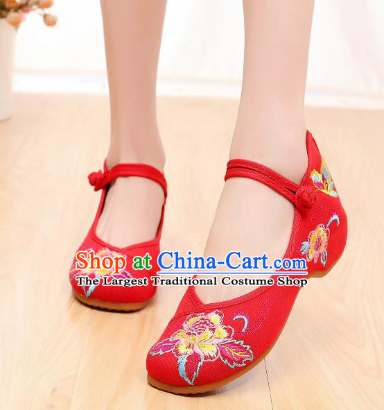 Asian Chinese Traditional Red Embroidered Shoes Hanfu Shoes National Cloth Shoes for Women