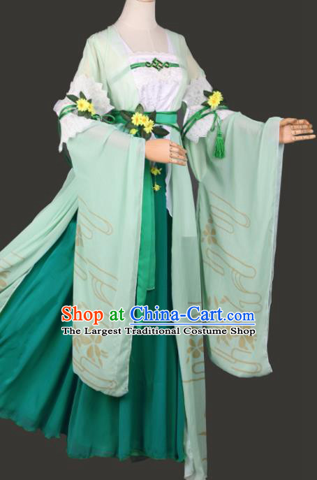 Chinese Ancient Cosplay Court Lady Green Dress Traditional Hanfu Swordsman Costume for Women