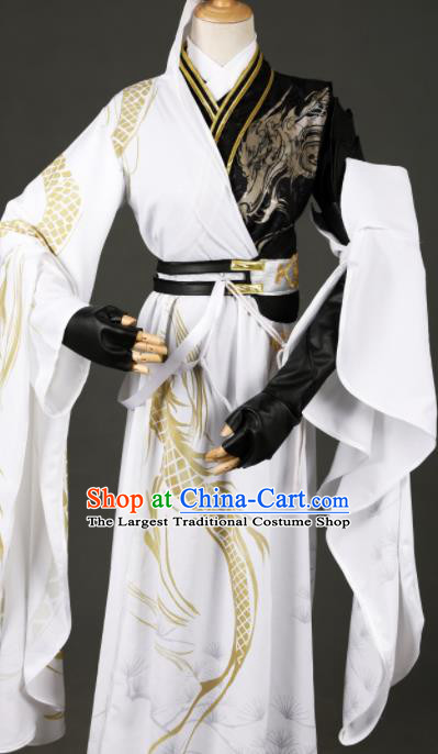 Chinese Ancient Drama Cosplay Prince White Clothing Traditional Hanfu Swordsman Costume for Men