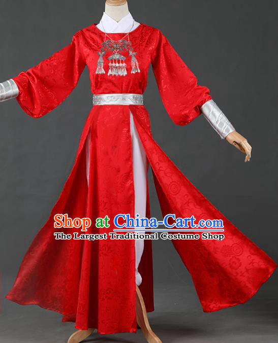 Chinese Ancient Drama Cosplay Knight Imperial Bodyguard Red Clothing Traditional Hanfu Swordsman Costume for Men