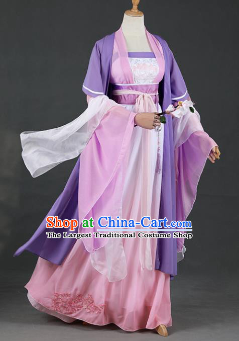 Chinese Ancient Cosplay Court Princess Purple Dress Traditional Hanfu Swordsman Costume for Women