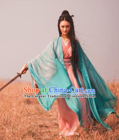 Chinese Traditional Jin Dynasty Female Swordsman Replica Costumes Ancient Drama Wu Xia Heroine Hanfu Dress for Women