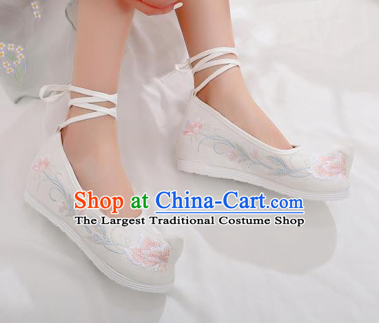 Asian Chinese Traditional Embroidered Shoes Hanfu Shoes National White Cloth Shoes for Women