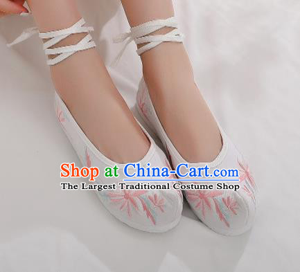 Asian Chinese Traditional Embroidered Chrysanthemum White Shoes Hanfu Shoes National Cloth Shoes for Women