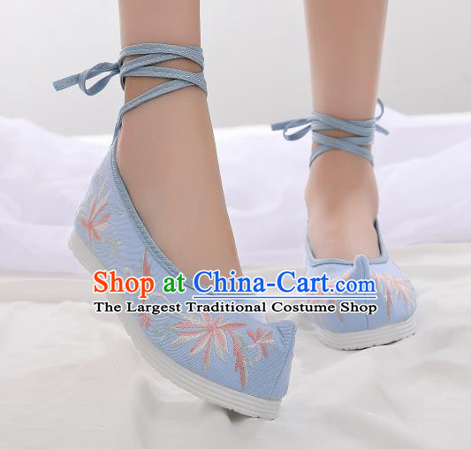 Asian Chinese Traditional Embroidered Chrysanthemum Blue Shoes Hanfu Shoes National Cloth Shoes for Women
