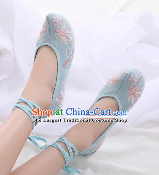Asian Chinese Traditional Embroidered Chrysanthemum Light Blue Shoes Hanfu Shoes National Cloth Shoes for Women