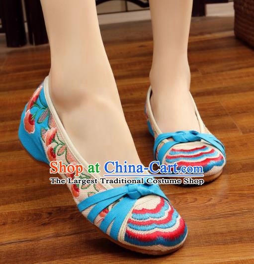 Asian Chinese Traditional Dance Embroidered Blue Shoes Hanfu Wedding Shoes National Cloth Shoes for Women