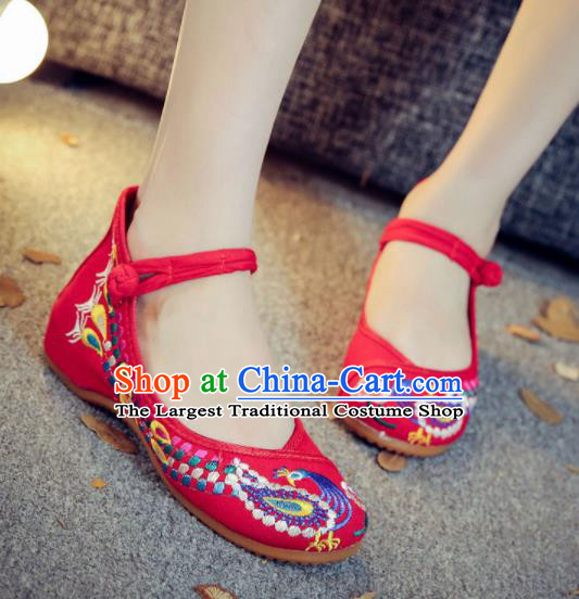 Asian Chinese Traditional Dance Embroidered Peacock Red Shoes Hanfu Wedding Shoes National Cloth Shoes for Women
