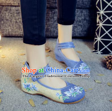 Asian Chinese Traditional Dance Blue Embroidered Shoes Hanfu Wedding Shoes National Cloth Shoes for Women