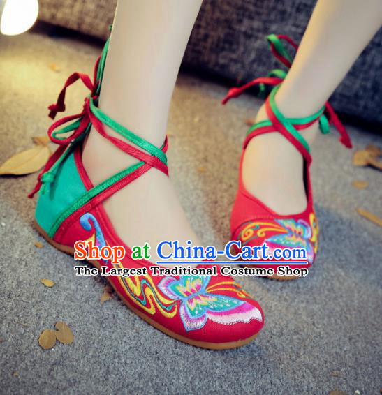 Asian Chinese Traditional Dance Embroidered Butterfly Red Shoes Hanfu Wedding Shoes National Cloth Shoes for Women