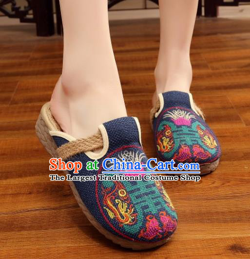 Asian Chinese Dance Navy Embroidered Shoes Traditional Hanfu Shoes National Cloth Shoes for Women