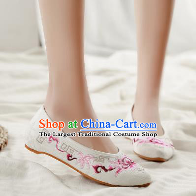 Asian Chinese Classical Dance Embroidered Peony White Shoes Traditional Hanfu Shoes National Cloth Shoes for Women