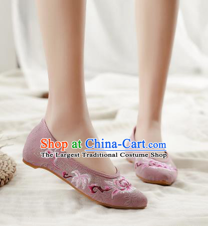 Asian Chinese Classical Dance Embroidered Peony Lilac Shoes Traditional Hanfu Shoes National Cloth Shoes for Women