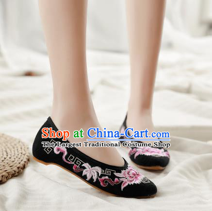 Asian Chinese Classical Dance Embroidered Peony Black Shoes Traditional Hanfu Shoes National Cloth Shoes for Women
