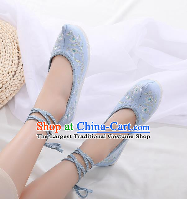 Asian Chinese Traditional Embroidered Frangipani Blue Shoes Hanfu Shoes National Cloth Shoes for Women