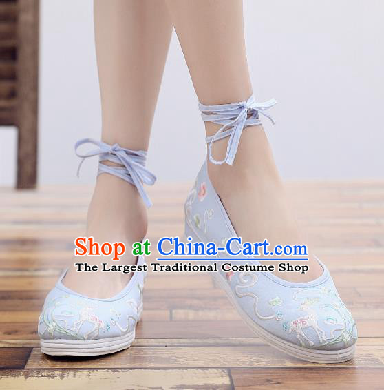 Asian Chinese Classical Dance Embroidered Deer Blue Shoes Traditional Hanfu Shoes National Cloth Shoes for Women