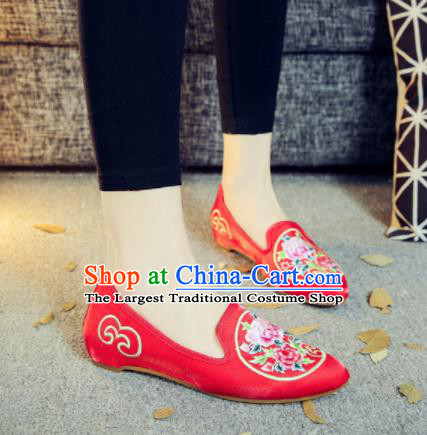 Asian Chinese National Red Cloth Shoes Embroidered Peony Dance Shoes Traditional Hanfu Shoes for Women