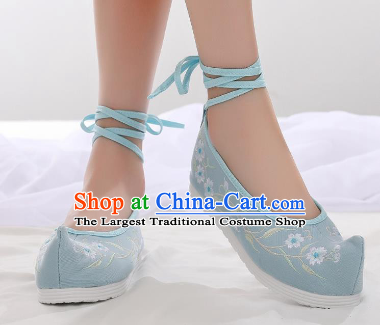 Asian Chinese Traditional Embroidered Frangipani Light Blue Shoes Hanfu Shoes National Cloth Shoes for Women