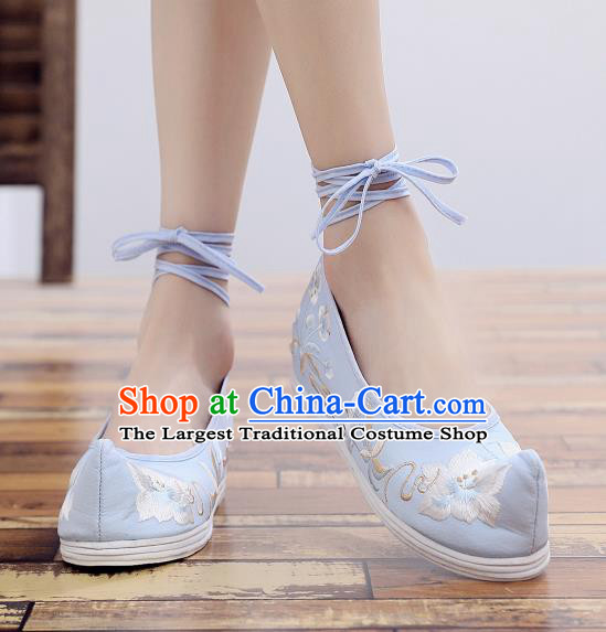 Asian Chinese National Cloth Shoes Blue Embroidered Camellia Dance Shoes Traditional Hanfu Shoes for Women