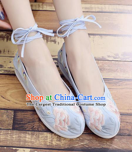 Asian Chinese National Dance Blue Cloth Shoes Embroidered Peony Shoes Traditional Hanfu Shoes for Women