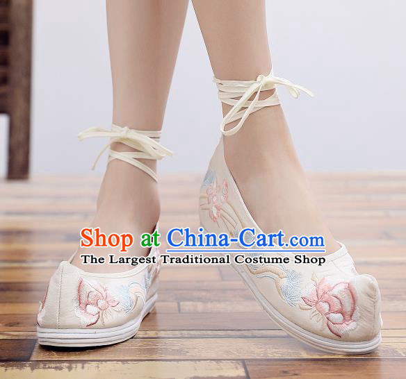 Asian Chinese National Beige Embroidered Peony Shoes Dance Cloth Shoes Traditional Hanfu Shoes for Women