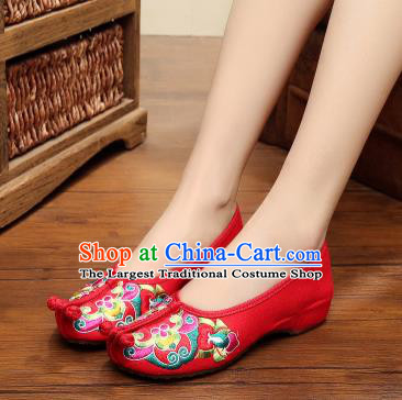 Asian Chinese National Red Embroidered Shoes Dance Cloth Shoes Traditional Hanfu Shoes for Women