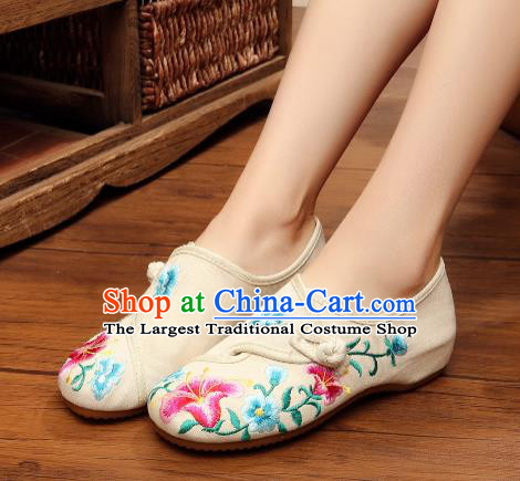 Asian Chinese National Embroidered Petunia White Shoes Dance Cloth Shoes Traditional Hanfu Shoes for Women