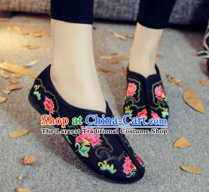 Asian Chinese Traditional Embroidered Peony Black Shoes Hanfu Wedding Shoes National Cloth Shoes for Women