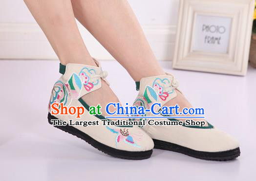 Asian Chinese National Embroidered Butterfly White Cloth Shoes Classical Dance Shoes Traditional Hanfu Shoes for Women