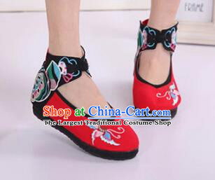 Asian Chinese National Embroidered Butterfly Red Cloth Shoes Classical Dance Shoes Traditional Hanfu Shoes for Women
