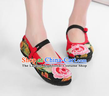 Asian Chinese National Embroidered Peony Red Cloth Shoes Classical Dance Shoes Traditional Hanfu Shoes for Women