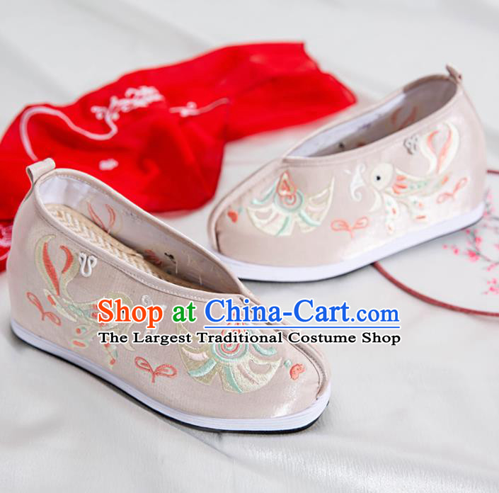 Asian Chinese Traditional Grey Embroidered Shoes Ancient Princess Shoes Hanfu Shoes for Women
