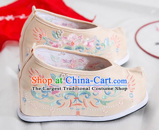 Asian Chinese Traditional Beijing Opera Embroidered Chrysanthemum Beige Shoes Ancient Princess Shoes Hanfu Shoes for Women
