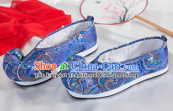 Asian Chinese Traditional Embroidered Shoes Ancient Princess Royalblue Shoes Hanfu Shoes for Women