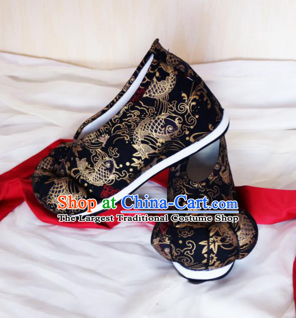 Asian Chinese Traditional Embroidered Shoes Ancient Princess Black Shoes Hanfu Shoes for Women