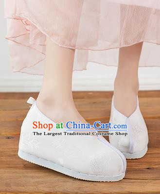 Asian Chinese Traditional White Cloth Shoes Ancient Princess Shoes Hanfu Shoes for Women