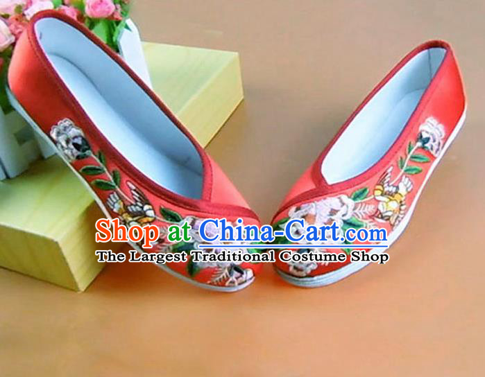 Asian Chinese National Embroidered Peony Red Shoes Ancient Princess Satin Shoes Traditional Hanfu Shoes for Women