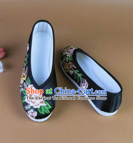Asian Chinese National Embroidered Peony Black Shoes Ancient Princess Satin Shoes Traditional Hanfu Shoes for Women
