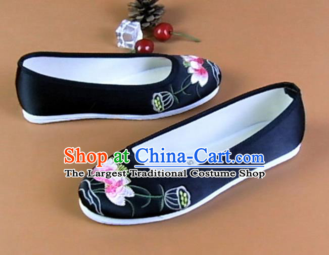 Asian Chinese National Embroidered Lotus Black Shoes Ancient Princess Satin Shoes Traditional Hanfu Shoes for Women