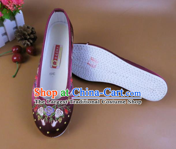 Asian Chinese National Embroidered Flowers Purple Shoes Ancient Princess Satin Shoes Traditional Hanfu Shoes for Women