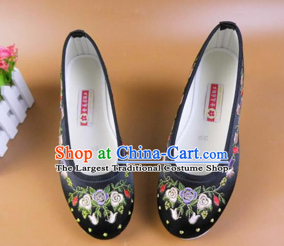 Asian Chinese National Embroidered Flowers Black Shoes Ancient Princess Satin Shoes Traditional Hanfu Shoes for Women