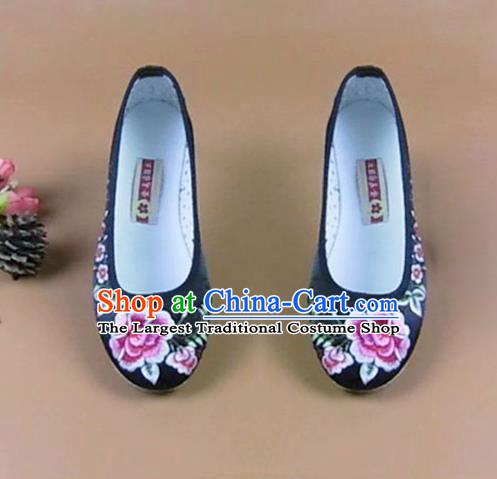 Asian Chinese National Black Embroidered Peony Shoes Ancient Princess Satin Shoes Traditional Hanfu Shoes for Women
