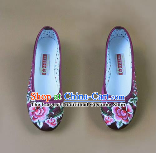 Asian Chinese National Purple Embroidered Peony Shoes Ancient Princess Satin Shoes Traditional Hanfu Shoes for Women