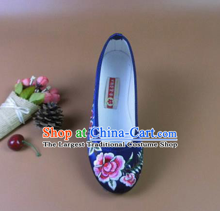 Asian Chinese National Royalblue Embroidered Peony Shoes Ancient Princess Satin Shoes Traditional Hanfu Shoes for Women