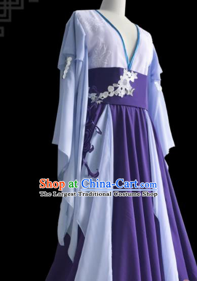 Chinese Traditional Cosplay Fairy Purple Dress Custom Ancient Female Swordsman Costume for Women