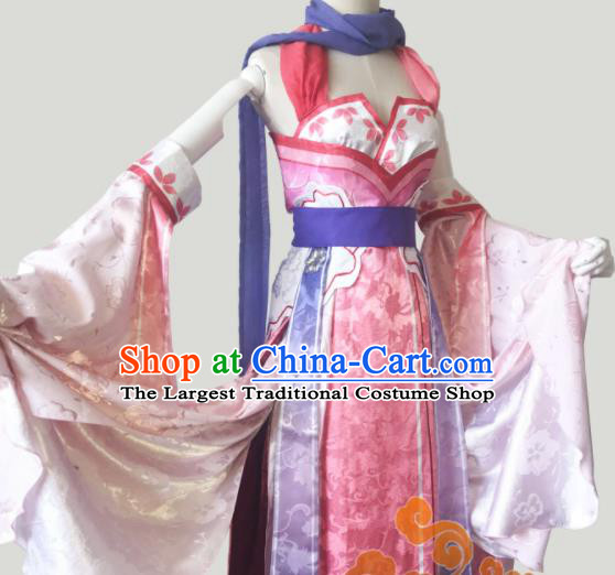 Chinese Traditional Cosplay Fairy Pink Dress Custom Ancient Female Swordsman Costume for Women