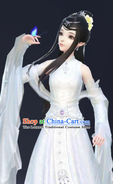 Chinese Traditional Cosplay Fairy Princess White Dress Custom Ancient Female Swordsman Costume for Women
